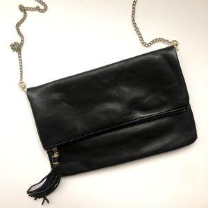 Black Crossbody Bag W/ Gold Chain + Tassel